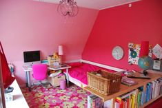 Beautiful Dream Rooms for Teenage Girls: Breathtaking Pictures Of Teenage Girls Rooms As Cool Teen Girl Bedroom Room Ideas With Red Painting Walls And Computer Unit On Small Study Desk Also Bookcase Unit ~ kaliopa.com Bedroom Design Inspiration
