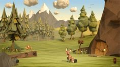 Alive For Art Inspiration | Artist interview w/ pics! Jeremy Kool is a freelancing CGI artist...Paper Fox Project | 3D CGI Papercraft Daytime Woodland Environment Featuring Character