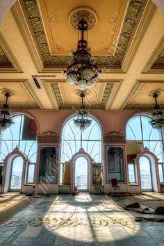Abandoned casino in Constanta, Romania, on the Black Sea, fenster casino,  arhitectura cazino constanta, inside casino constanta,
