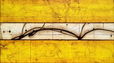 """Goldboards 27"""" x 48"""" Acrylic abstract painting by Michael Kessler"""