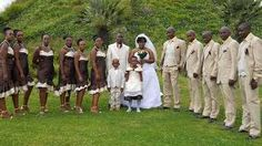 Bridesmaids wearing shweshwe