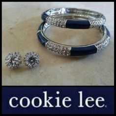 "My new favorite things .. ""Navy Shimmer Crystal Bangle"" and our ""Brilliant Bling CZ Studs"" $32 Msg me if interested.  Not available in any catalog and LIMITED SUPPLY. #cookielee #fashion #jewelry #accessories #style #fabulousforless #bling www.CookieLeeJewelryOnline.com"