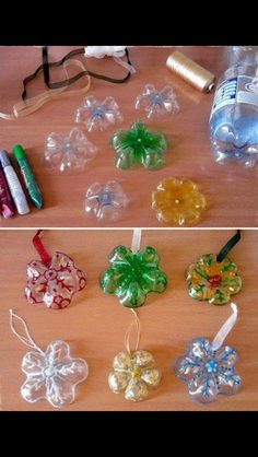 Snowflake craft made from the bottoms of plastic bottles