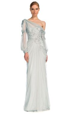 Shop Drop Shoulder Tulle Gown by Marchesa for Preorder on Moda Operandi