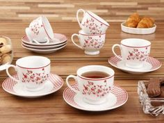 Conjunto de Xícaras para Chá 12 Peças - em Porcelana Roma - Casambiente