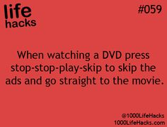 Life Hacks #59 as if this skipping ads would word on dvds