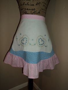 Pink and Blue Women's Half Apron from Upcycled Dresser Scarf by FromNinasCloset on Etsy