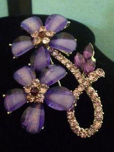 A Beautiful Double Floral Swarovski Austrian Amethyst & AB Crystals Brooch Pin