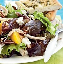 Roast Chicken Salad and Peach with Pecans and Goat Cheese!