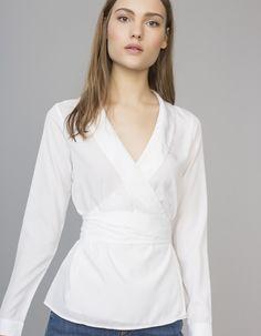 Blusa cuello esmoquin | Blanco