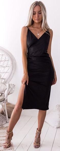 #winter #outfits black spaghetti strap plunging-neckline side-slit midi dress