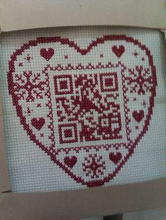 Winter Heart with QR Code, designed and stitched by AVHackett.