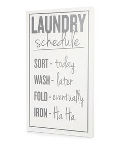 White 'Laundry Schedule' Wall Art | Daily deals for moms, babies and kids
