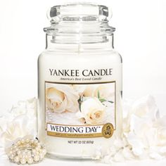 yankee wedding day candle - no sugar and spice scents for the bride to be, but she loves yankee candles