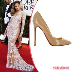 Jennifer Lopez wore Christian Louboutin Pigalle pumps to the 2013 Golden Globes.