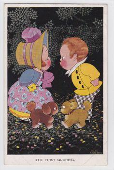 The First Quarrel Vintage 1930s Chloe Preston Artist Signed Child Postcard G280   eBay