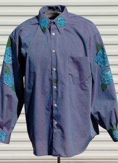 XL Mens Hand Painted Long Sleeve Shirt Blue Rose of Forgetfullness by OLearStudios on Etsy