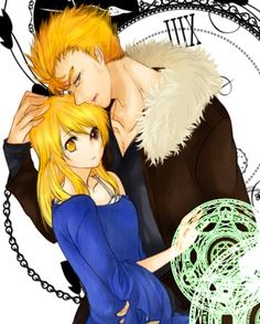 Fairy Tail, Laxus and Lucy - not sure who artist is but love it!