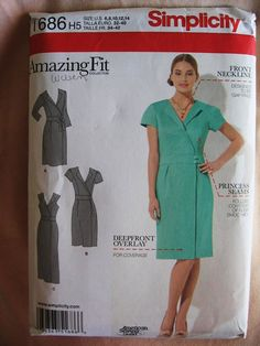 Simplicity Misses Womens Amazing Fit Mock Wrap Dress by Vntgfindz