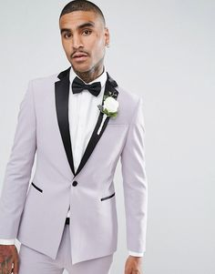 ASOS Wedding Super Skinny Tuxedo Suit Jacket With Satin Lapel In Dusky  Lilac at asos.com 45db9a6274