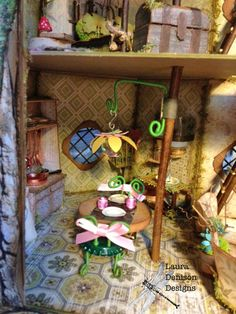 Here are some more photos showing the interior of the Spring Fairy House. Fairy Garden Plants, Fairy Garden Houses, Fairy Box, Fairy Land, Miniature Crafts, Miniature Fairy Gardens, Home Crafts, Arts And Crafts, Spring Fairy