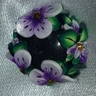 Brooch and Pendant combination - Purple Flower around a Glass Cabachon
