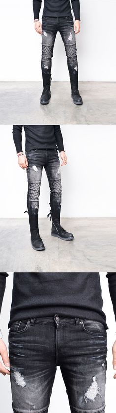 Bottoms :: Damaged Quilting Slim Wash Black Biker-Jeans 263 - Mens Fashion Clothing For An Attractive Guy Look Black Biker Jeans, Ripped Jeans Men, Denim Skinny Jeans, Mens Boots Fashion, Attractive Guys, Best Jeans, Jeans Brands, Mens Clothing Styles, Shirt