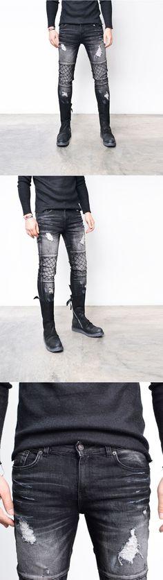 Damaged Quilting Slim Wash Black Biker-Jeans 263 - GUYLOOK