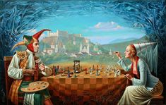 Michael Cheval - NEW RULES FOR THE OLD GAME - Oil on Canvas