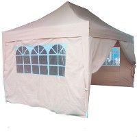 High Quality 10' x 15' Tan Double Pyramid-Roofed Pop Up Canopy Tent