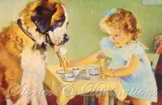 Saint Bernard with Ice Cream - Original 1930s Vintage Chromolithograph