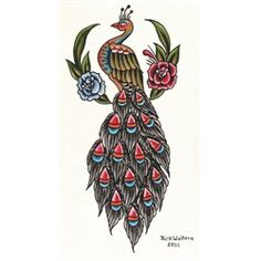 """Rick's Peacock by Rick Walters Traditional Old School Tattoo Design Canvas Fine Art Print Giclee. Made-to-order Giclee fine art reproductions on canvas featuring the original artwork of today's hottest tattoo artists. Stretched and ready to hang. Museum gallery wrap extends the canvas over the sides. Sawtooth metal hanger. 1.25"""" thick. High-gloss finish. Authorized Dealer of BlackMarket Art-Lowbrow's fine products"""