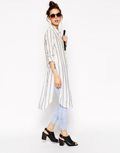 Aumentar Camisa larga de manga larga azul y blanco a rayas de ASOS