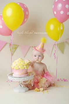 Light Pink and Yellow - Custom Party Hat / Headband (pick you colors) 1st Birthday Cake Smash, Baby 1st Birthday, Birthday Parties, Cake Smash Photography, Birthday Photography, 1st Birthday Pictures, Birthday Ideas, Pink Lemonade Party, Cake Smash Photos
