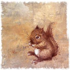 Winston the Little Baby Squirrel Guy. Art Print from My Original Drawing. Woodland. Nursery Art. $35.00, via Etsy.