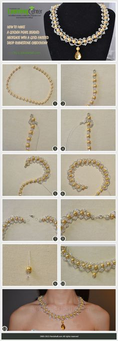 A Golden Pearl Beaded Necklace