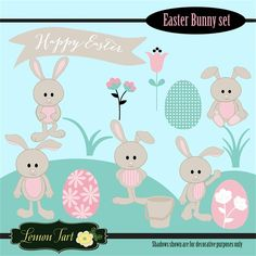 Cute Easter Bunny clipart! Okay they are just adorable! Bunnies in a cute tan color with pink bellies and ears. Made with matching clipart to make great additions to your Easter or Spring projects. Greatfor making cards, paper crafts, scrapbooking, invitations, web design, printables and much more!