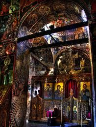 Interior of Monastary of the Holy Trinity in Meteora Greece