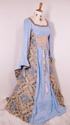 Ice Blue & beige lace up medieval dress with beaded trim