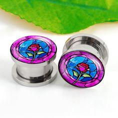 Pairs Rose flower ear plugs ,flash Ear Tunnels, Body Jewelry Pierceing,0g,00g ,2g ,,Titanium ear plugs, screw on ear plugs