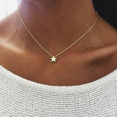 New Minimalism Small Star Pendant Necklaces For Women Ladies Gold Silv – intothea Knot Necklace, Star Necklace, Pendant Necklace, Cheap Necklaces, Jewelry Necklaces, Wattpad, Star Pendant, Necklace Online, Silver Stars