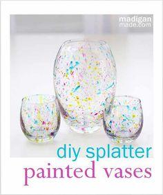 'DIY Splatter Painted Glass Vases...!' (via Madigan Made)