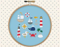 Nautical cross stitch pattern pdf  sea cross door GentleFeather