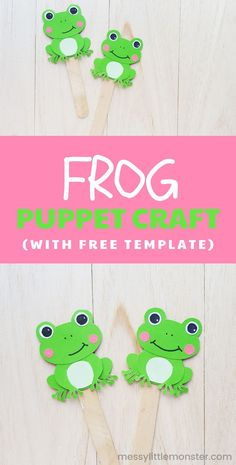 Frog puppet craft for kids with free printable frog template. Creative Arts And Crafts, Easy Crafts For Kids, Craft Activities For Kids, Cute Crafts, Craft Stick Crafts, Toddler Crafts, Activity Ideas, Craft Ideas, Templates Printable Free