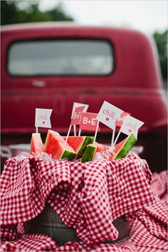 Summer Picnic Inspiration: watermelon slices with cute toothpick flags