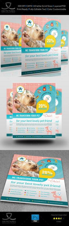 Pet Grooming Salon Flyer Template  — PSD Template #dog #creative • Download ➝ https://graphicriver.net/item/pet-grooming-salon-flyer-template/18077373?ref=pxcr