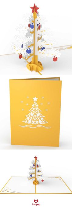 A Glittering Gold and White Christmas Tree pops up from this unique Christmas Card. Gift something different this year. #MerryChristmas