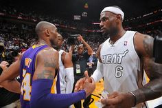 nba:  Kobe Bryant of the Los Angeles Lakers and LeBron James of the Miami Heat congratulate each other after a game between the Los Angeles Lakers and the Miami Heat on February 10, 2013 at American Airlines Arena in Miami, Florida. (Photo by Andrew D. Bernstein/NBAE via Getty Images)