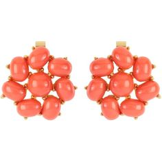Susan Caplan Vintage 1960s Trifari Faux Coral Cluster Earrings found on Polyvore