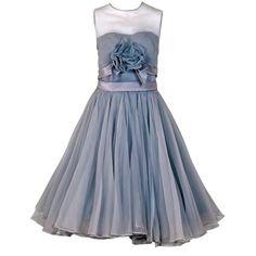 1950's Harvey Berin Dove-Gray Silk Chiffon Applique Party Dress ❤ liked on Polyvore